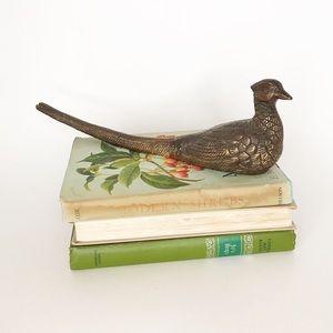 Vintage Brass Pheasant Decor Paper Weight Bird